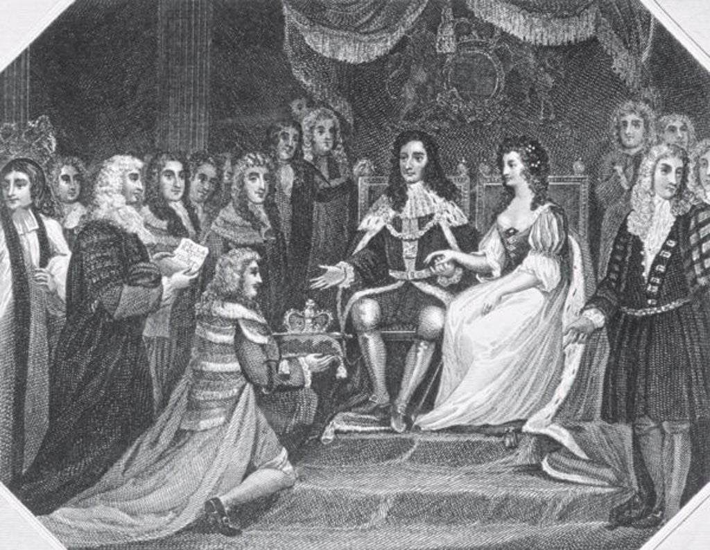 Detail of Presentation of the Bill of Rights to William III of Orange and Mary II by English School