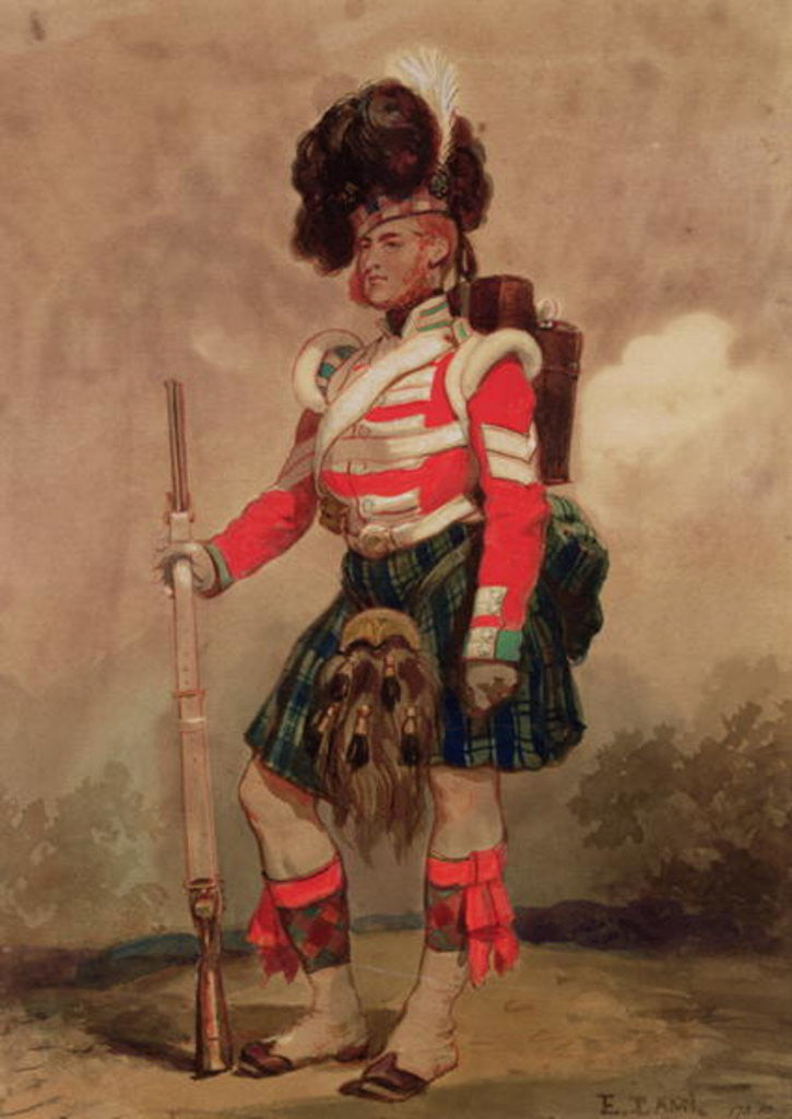 Detail of A Soldier of the 79th Highlanders at Chobham Camp by Eugene-Louis Lami