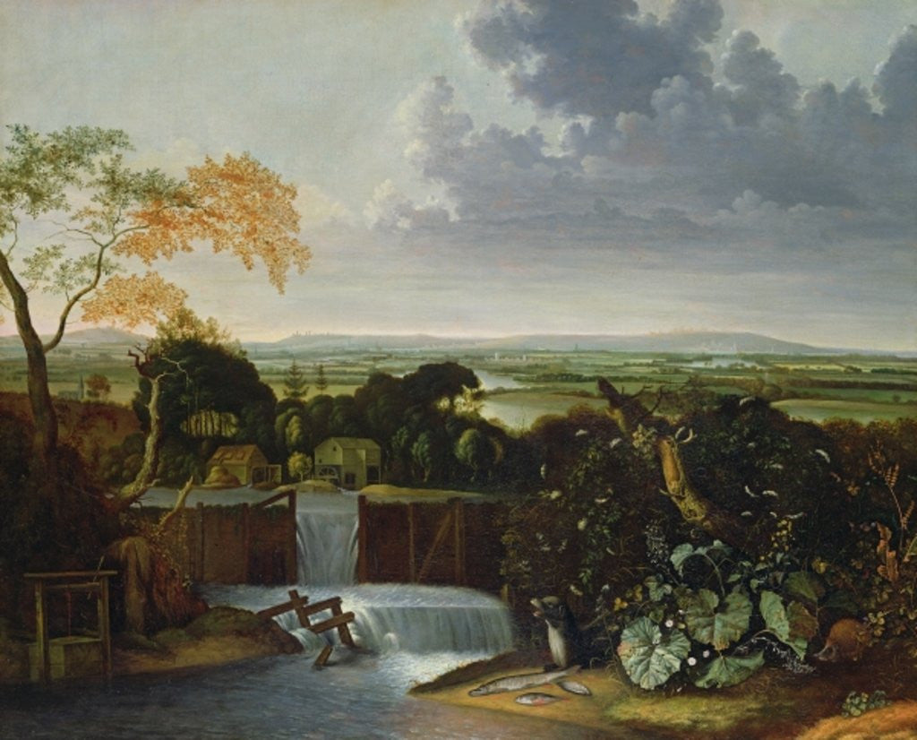 Detail of Extensive Landscape with a Watermill by Matthias Withoos