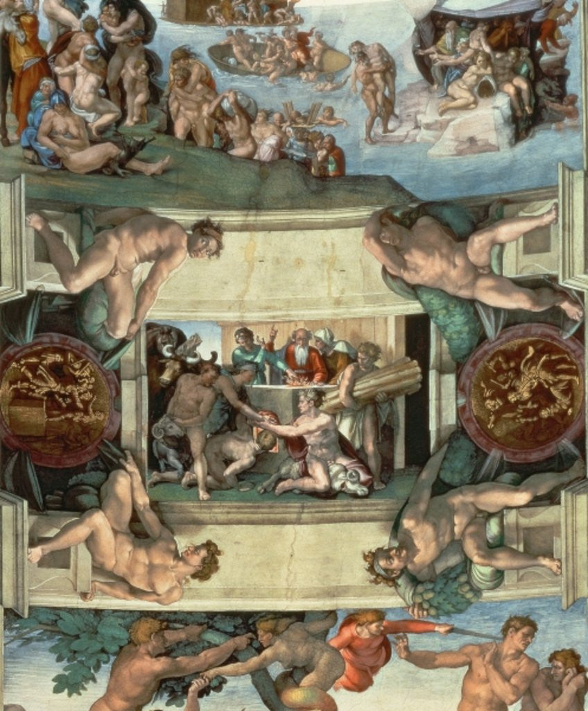 Detail of Sistine Chapel Ceiling: The Sacrifice of Noah by Michelangelo Buonarroti