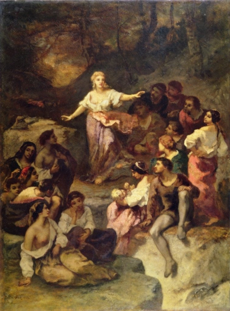 Detail of Gypsy Encampment by Narcisse Virgile Diaz de la Pena