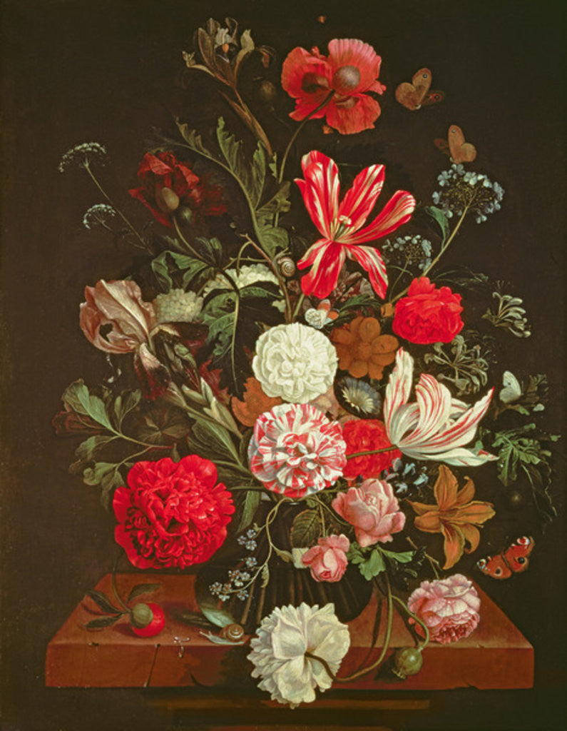 Detail of A Still Life of flowers in a glass vase, 17th century by Jacob Rootius