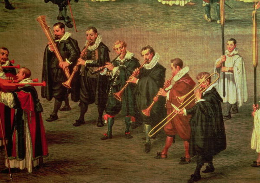 Detail of Musicians taking part in The Ommeganck in Brussels on 31st May 1615: Procession of Notre Dame de Sablon by Denys van Alsloot