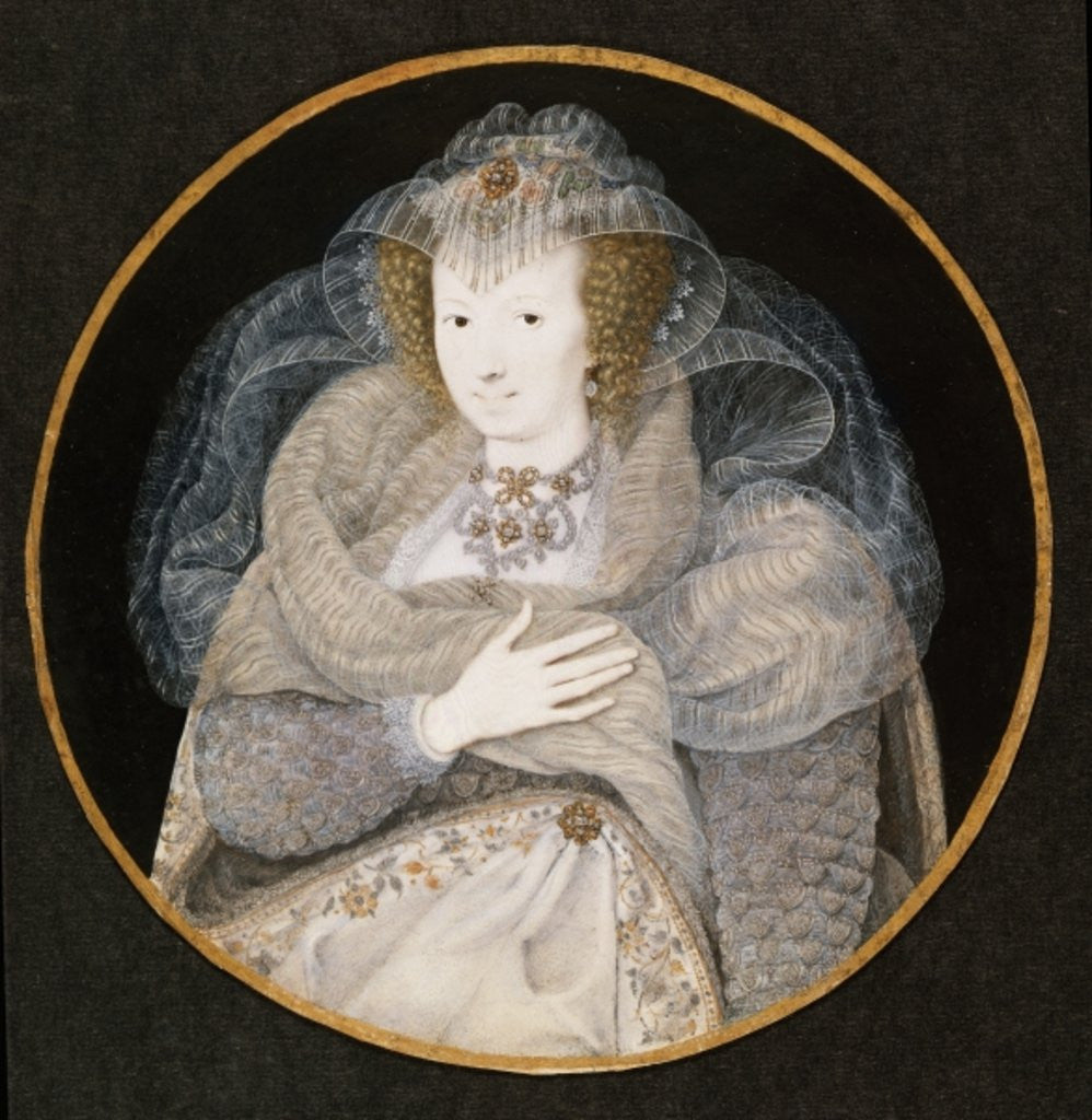 Detail of Portrait of Frances, Countess Howard by Isaac Oliver