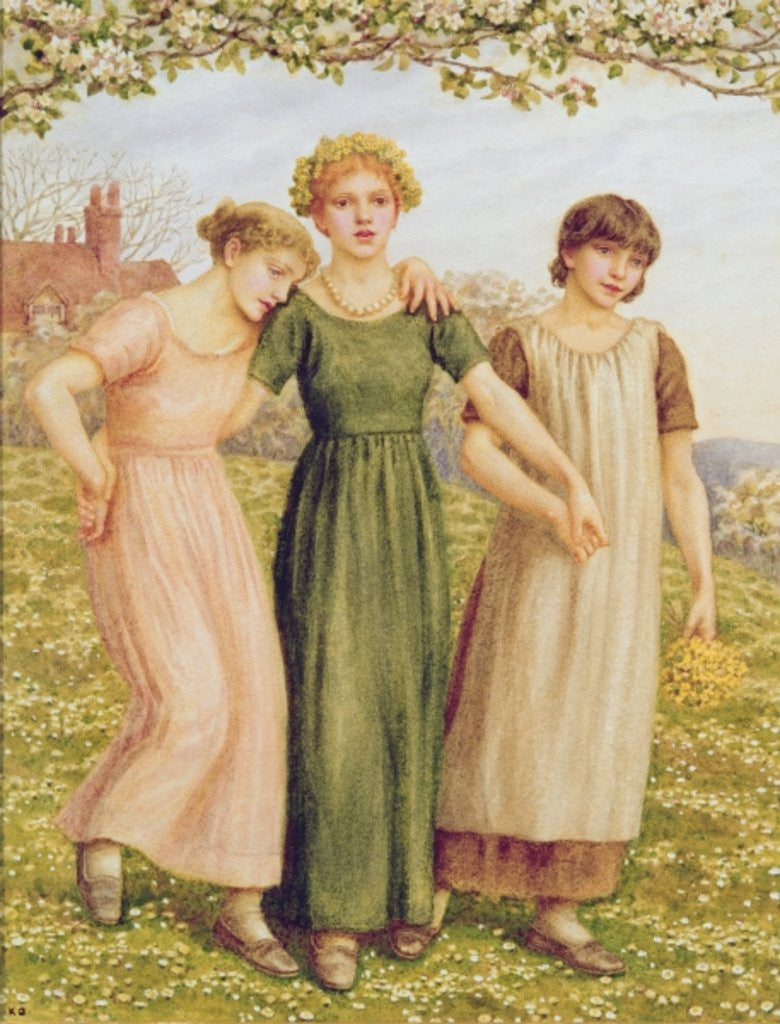 Detail of Three Young Girls by Kate Greenaway