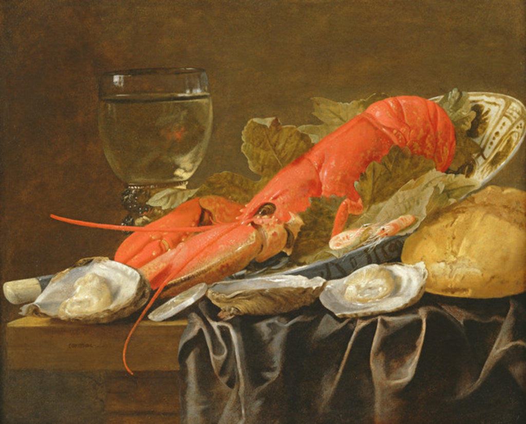 Detail of Still life with lobster, shrimp, roemer, oysters and bread by Christiaan Luykx or Luycks