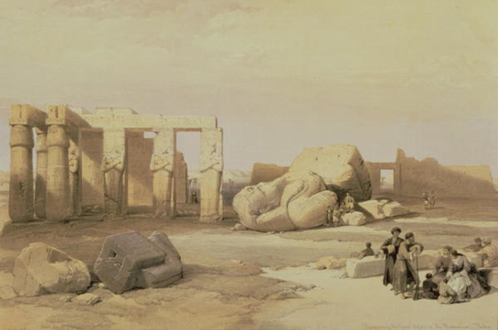 Detail of Fragments of the Great Colossus, at the Memnonium, Thebes by David Roberts