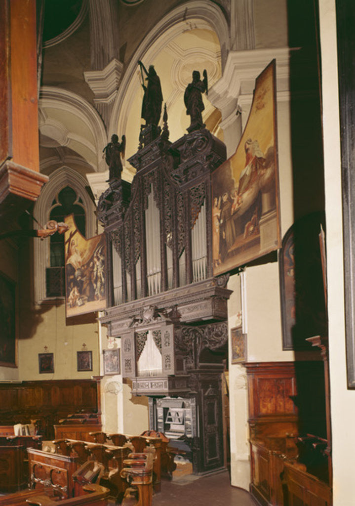 Detail of View of the organ in Franziskanerkirche, Vienna by Austrian School