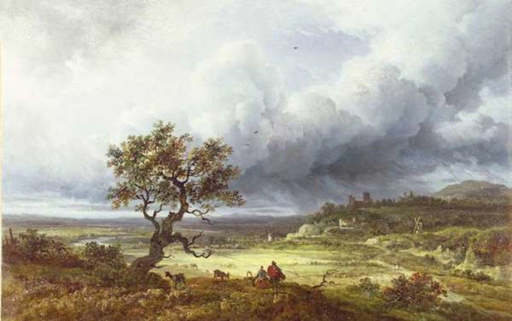 Detail of Countryside under a Stormy Sky by Georges Michel