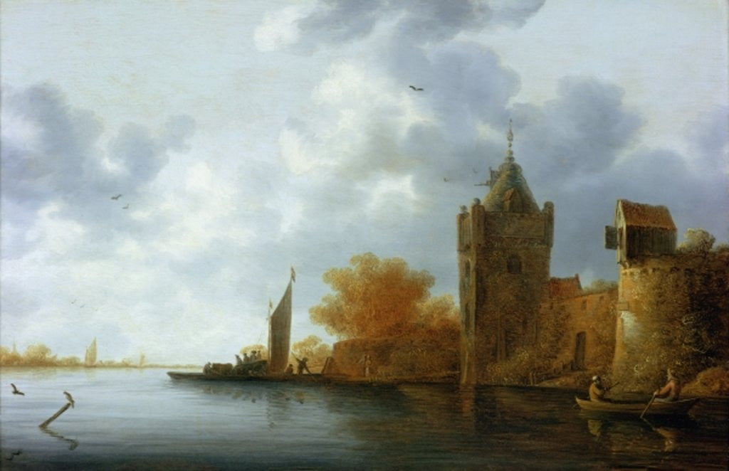 River estuary with a tower and fortified walls, ferry embarking