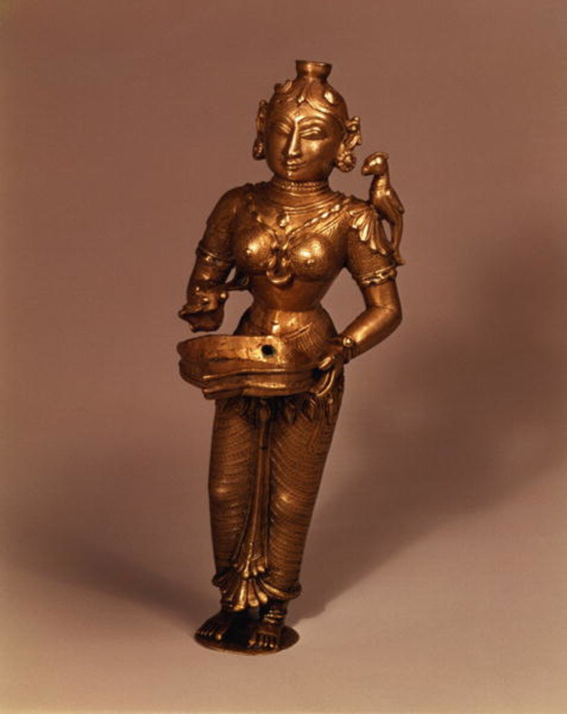 Detail of Lamp in the form of Goddess of Fortune, South Indian by Indian School