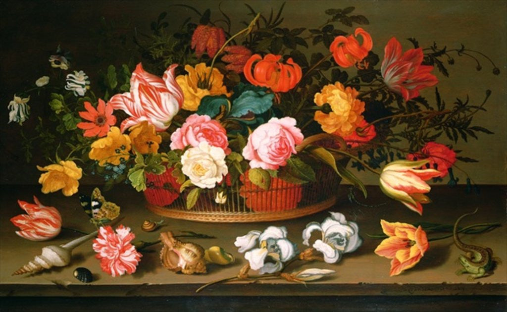 Detail of Basket of flowers by Balthasar van der Ast