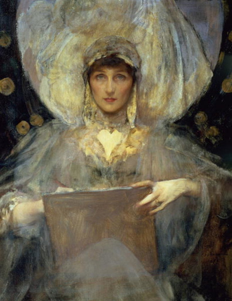 Detail of Portrait of Violet, Duchess of Rutland by Sir James Jebusa Shannon