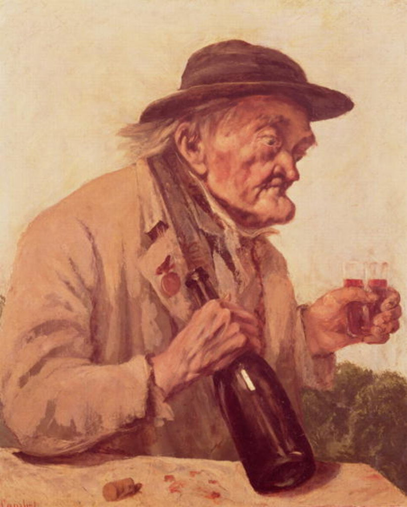 Detail of Old Man with a glass of wine by Gustave Courbet