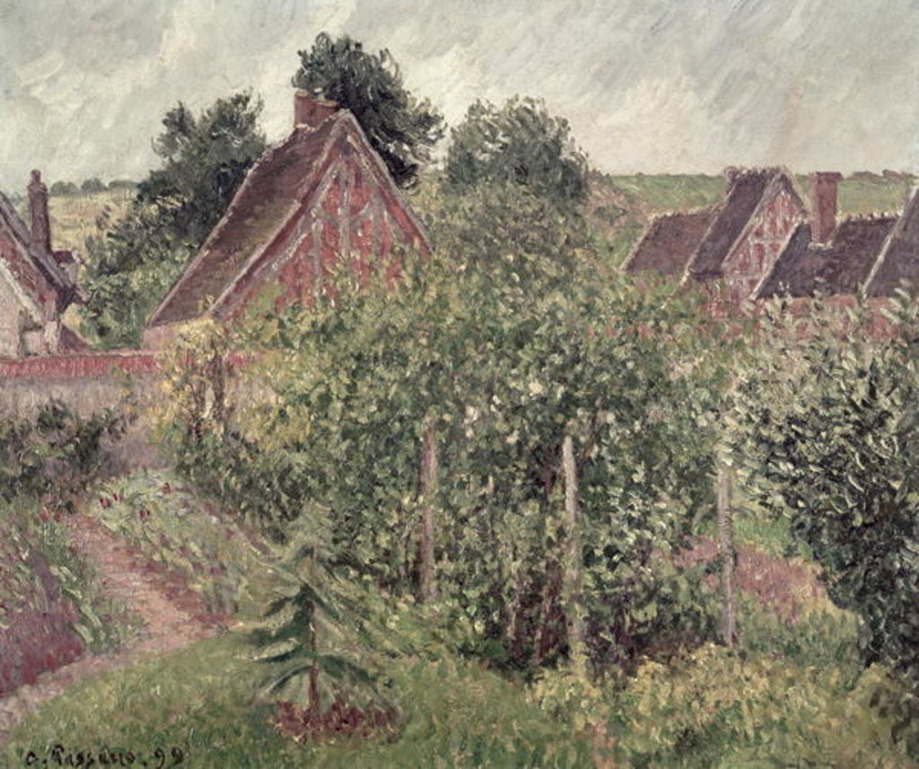 Detail of Landscape with Cottage Roofs by Camille Pissarro