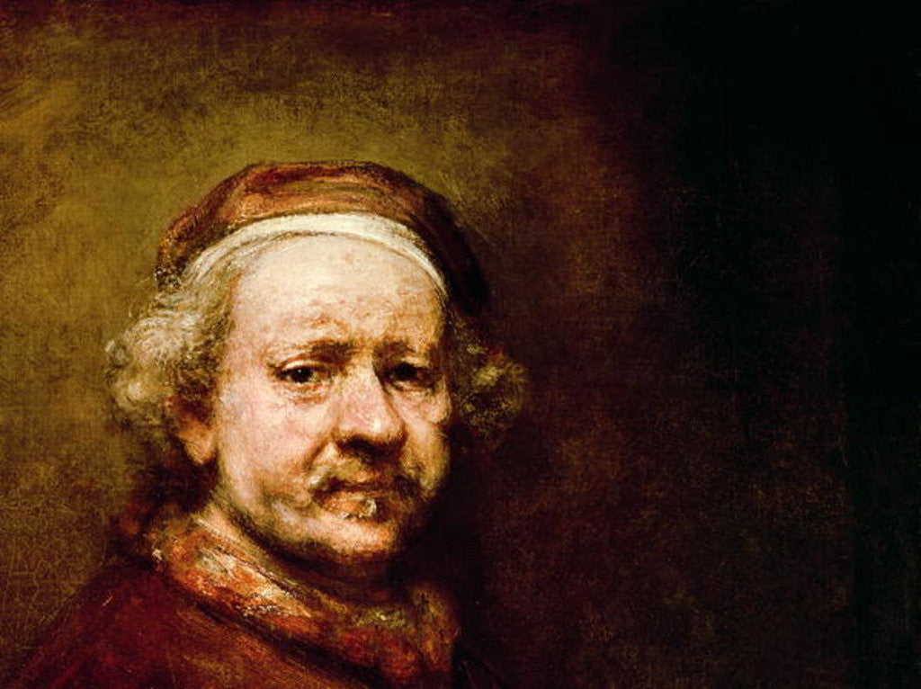 Detail of Self Portrait in at the Age of 63 by Rembrandt Harmensz. van Rijn