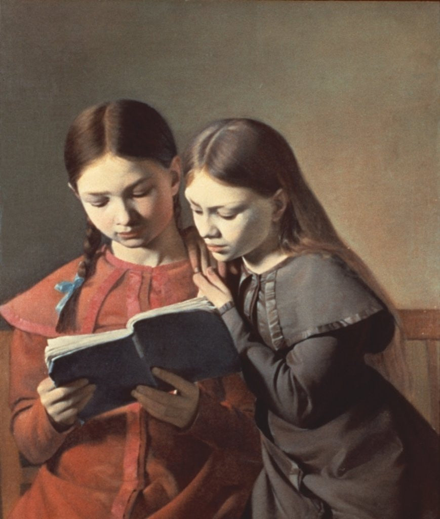 Detail of The Artist's Sisters Signe and Henriette Reading a Book by Carl-Christian-Constantin Hansen