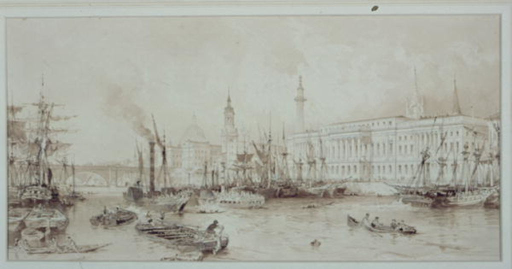 Detail of The Port of London by Thomas Allom