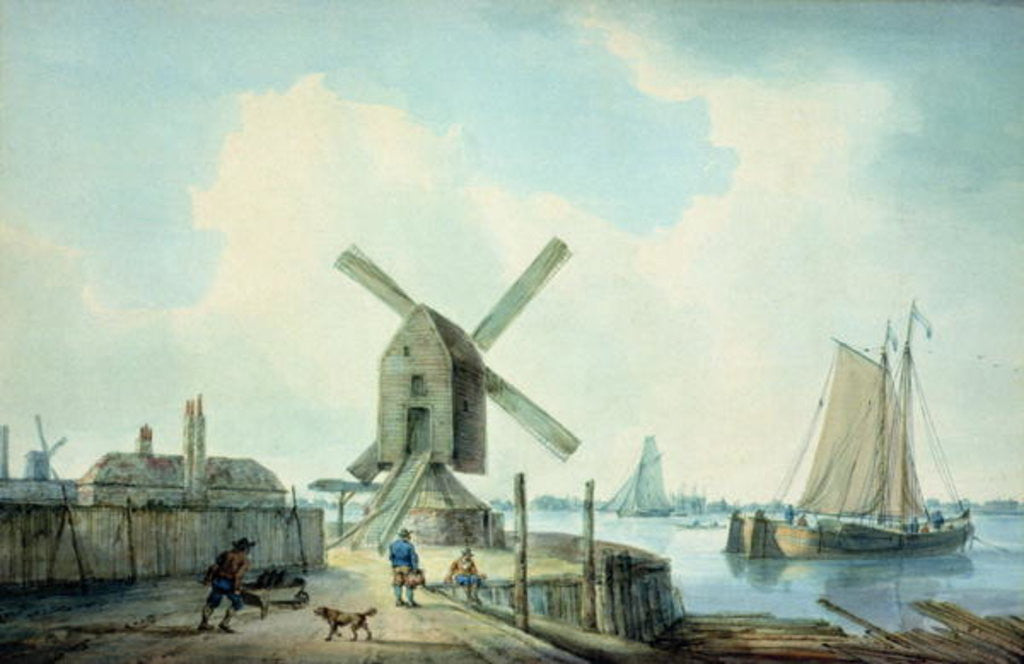 Detail of A Shore Scene with Windmills and Shipping by William Anderson