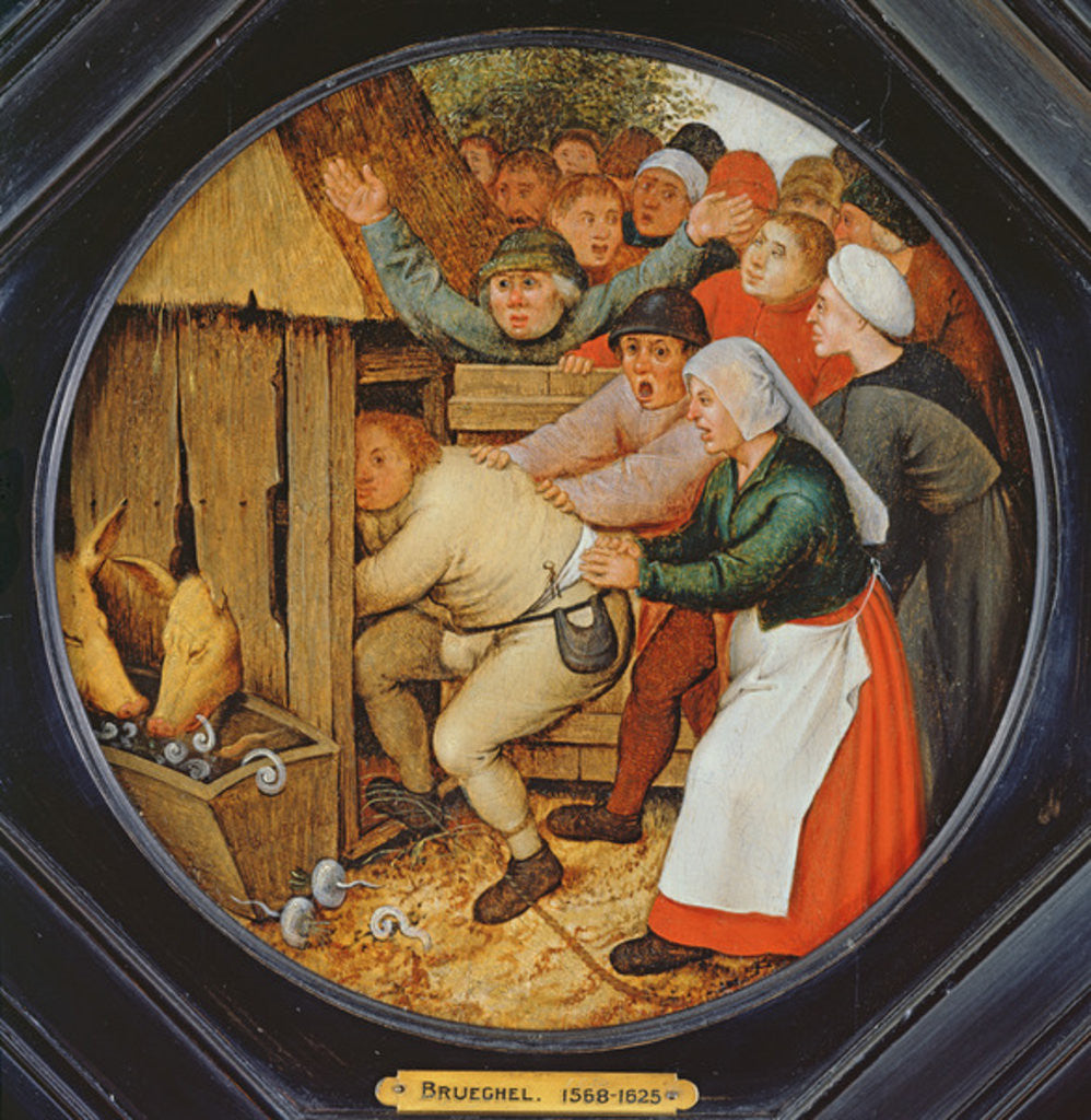 Detail of The Drunkard Pushed into the Pigsty by Pieter the Younger Brueghel