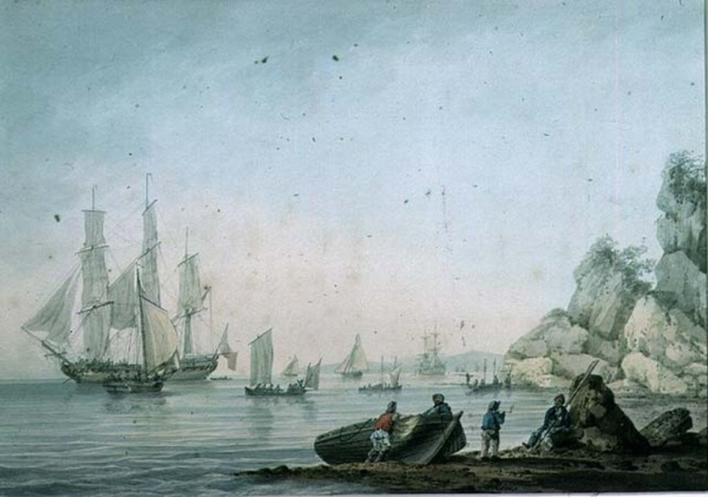 Marine View, with boat and figures on a shore