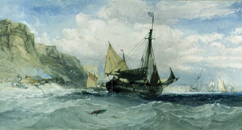 Detail of Fishing Boats off the Isle of Wight by Charles Bentley
