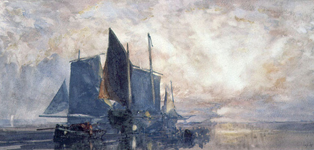 Detail of Fishing Boats at Anchor: Sunset by William Roxby Beverly