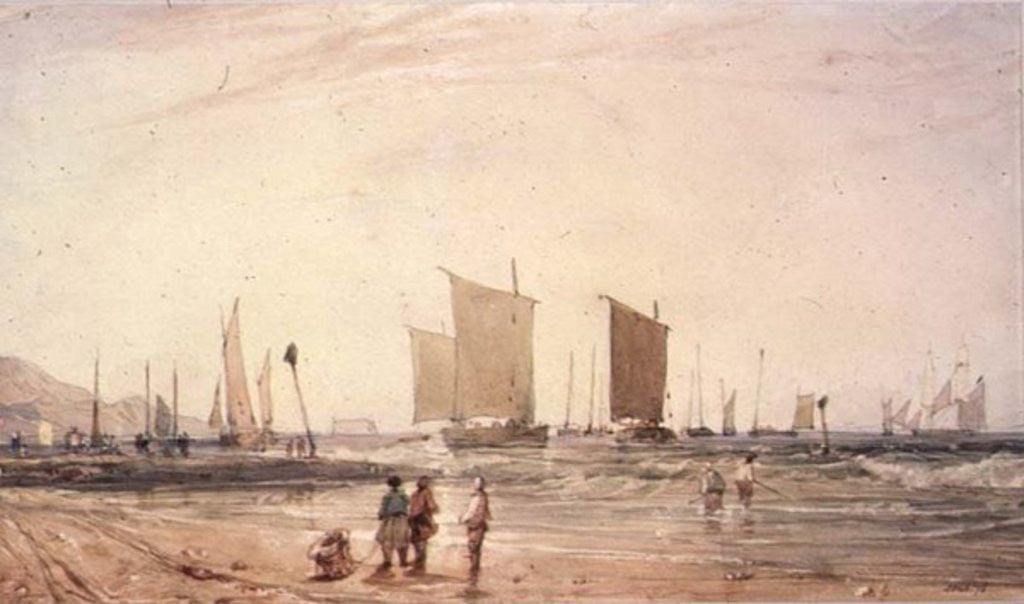 French Coast, with fishing Boats, 19th century