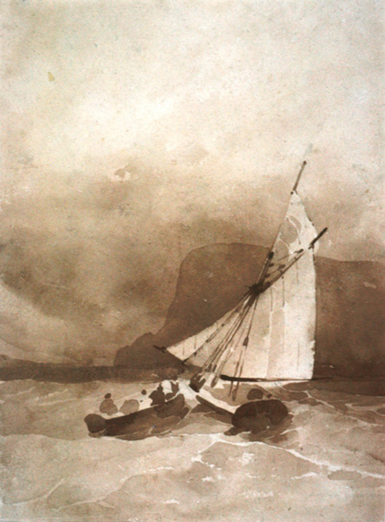 Detail of A Sailing-vessel and a Rowing-boat in rough seas off Beachy Head, Sussex by Richard Parkes Bonington