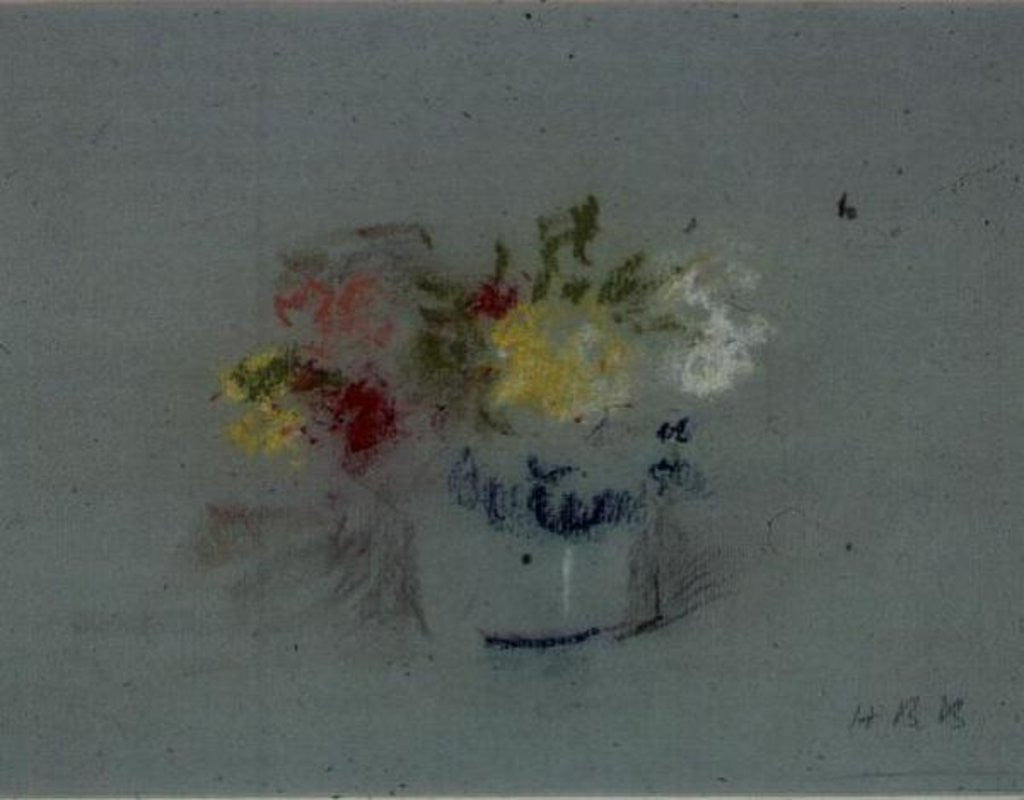 Detail of Flowers in a Blue and White Jar by Hercules Brabazon Brabazon