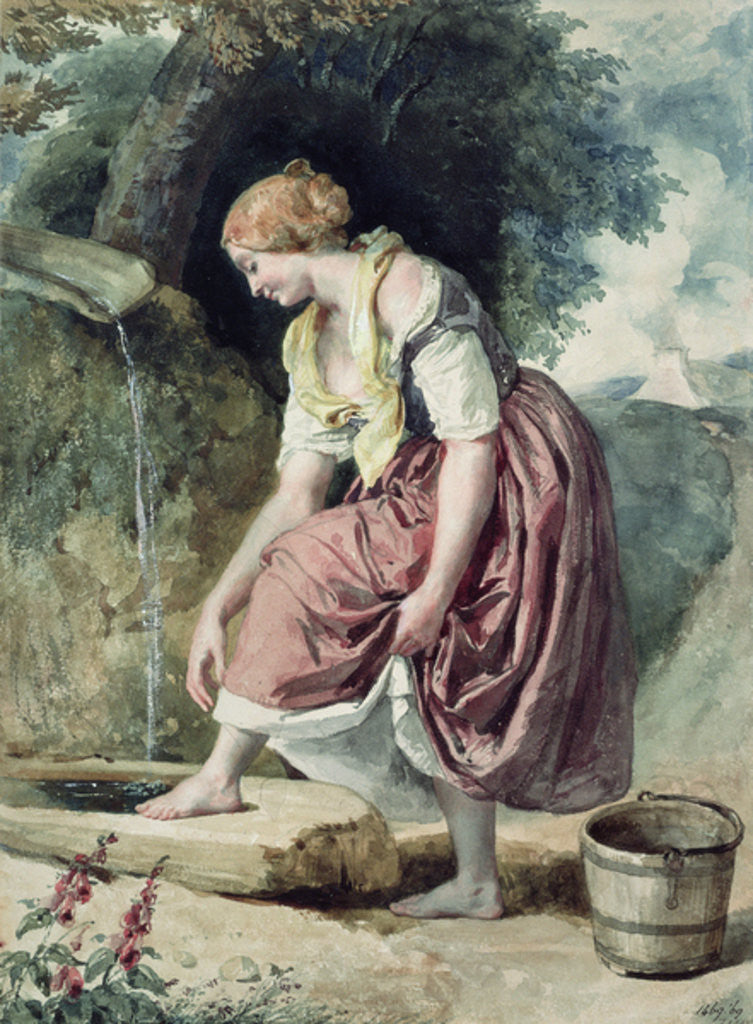 Detail of Girl at a Conduit by Karoly or Charles Brocky