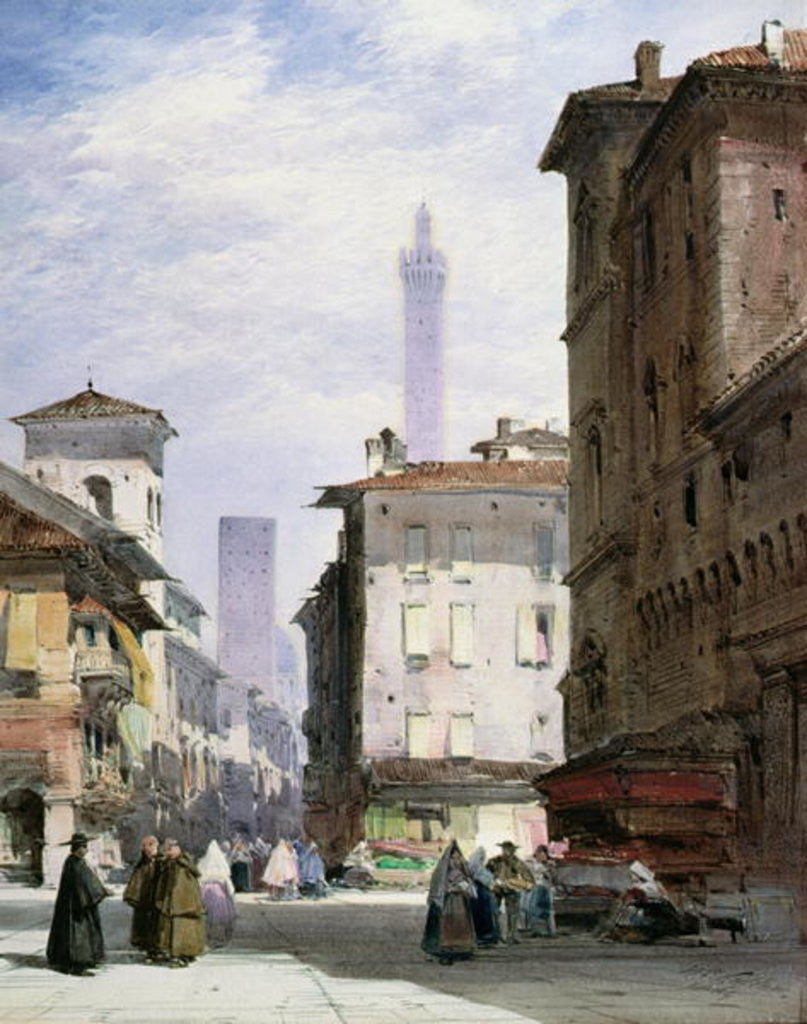 Detail of Leaning Tower, Bologna by William Callow