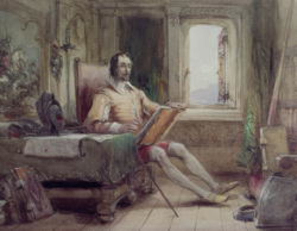 Detail of Don Quixote in his Study by George Cattermole