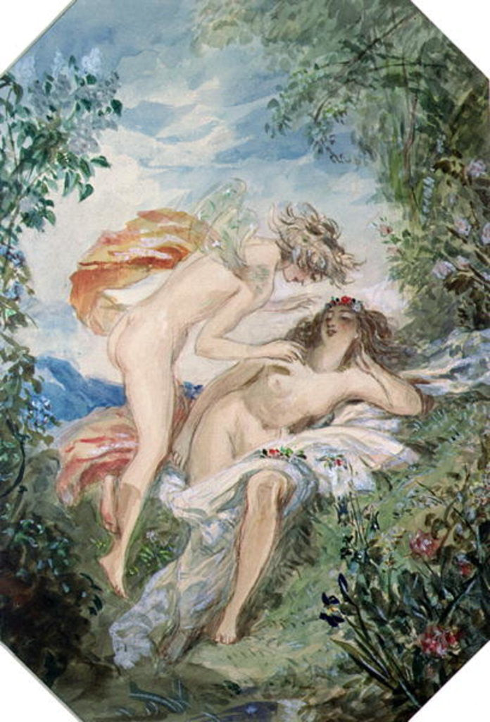 Detail of Flora and Zephyr by Alfred-Edward Chalon
