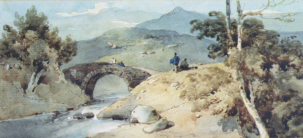 Detail of Chinese Landscape with Bridge by George Chinnery