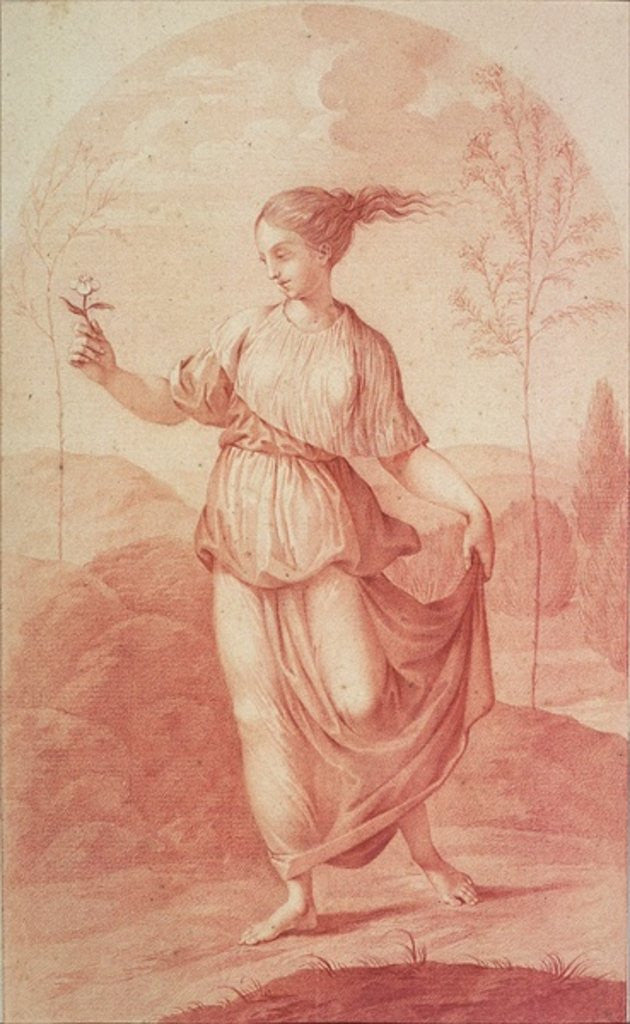 Detail of A Young Woman walking bare-footed in a Landscape by Giovanni Battista Cipriani