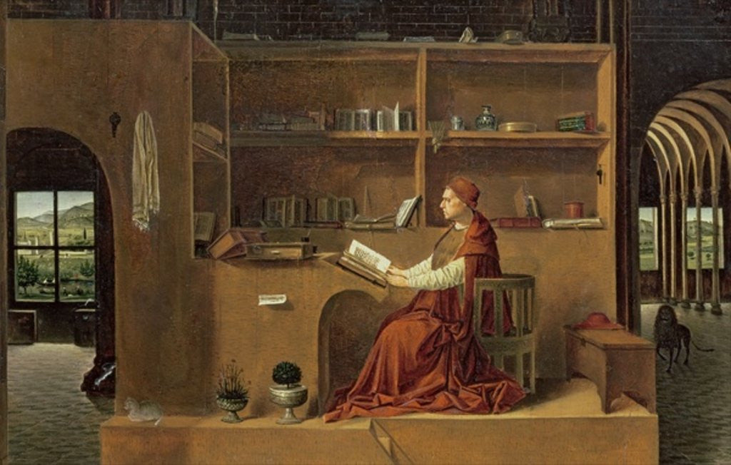 Detail of St. Jerome in his study by Antonello da Messina