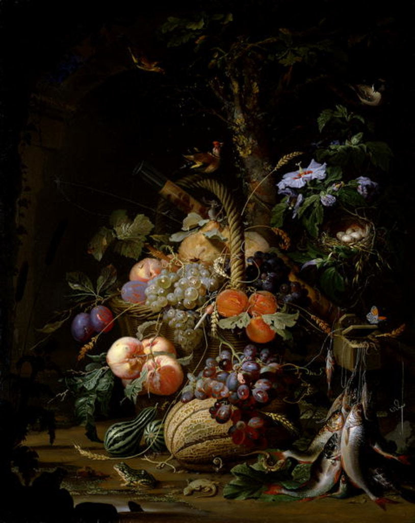 Detail of Still life of fruit by Abraham Mignon