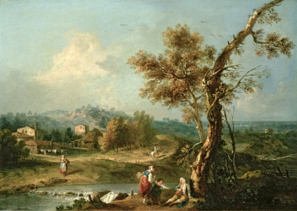 Detail of An Italianate River Landscape with Travellers by Francesco Zuccarelli