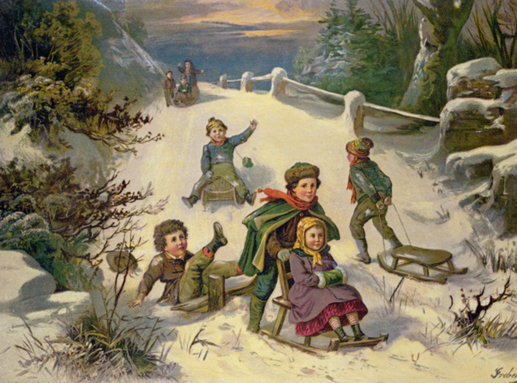 Detail of Sledging & Snowballing by Greben