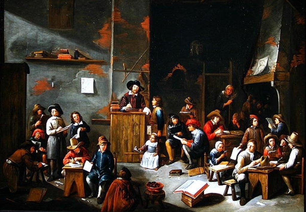 Detail of The Interior of a School Room by Gillis van Tilborgh