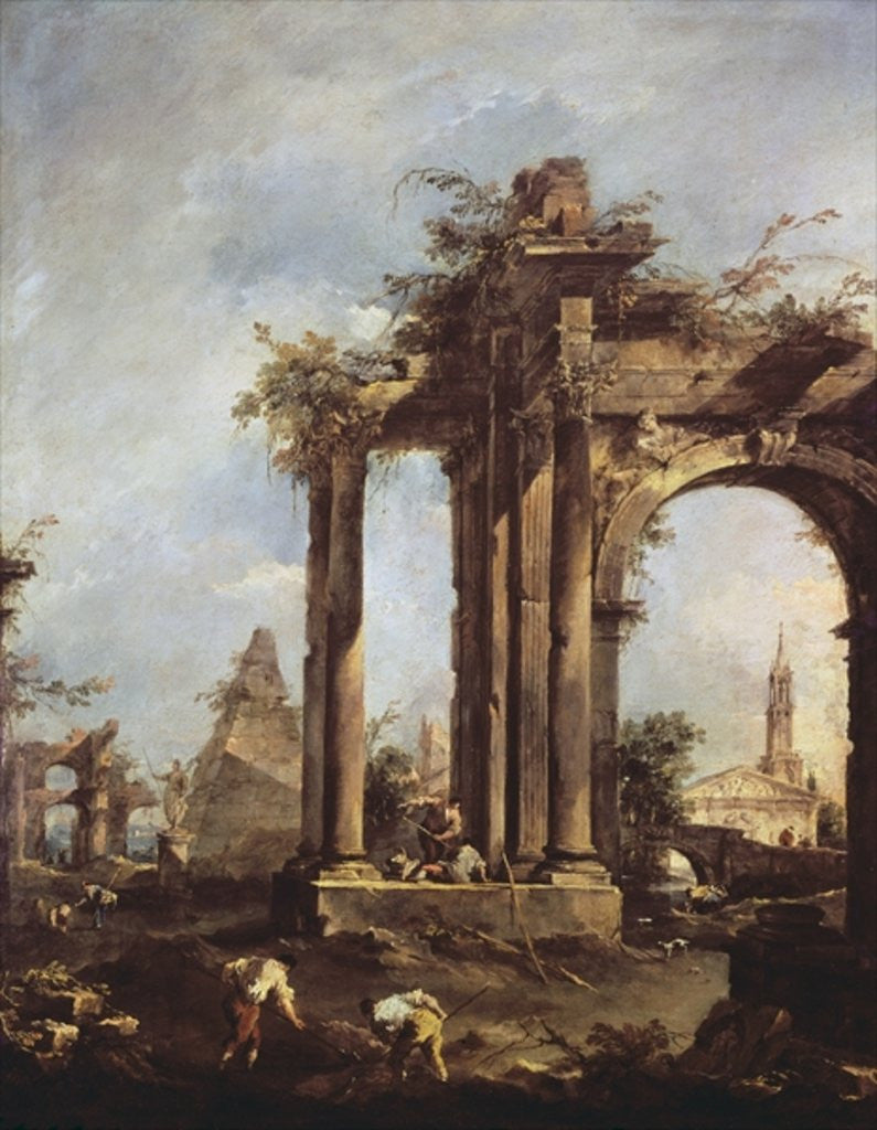 Detail of Capriccio with Roman Ruins, a Pyramid and Figures by Francesco Guardi