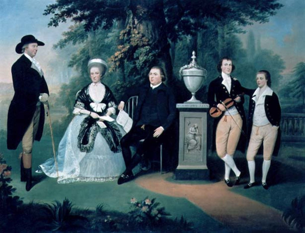 Detail of Members of the Wilson family grouped round a memorial of William Pitt the Younger by John Downman