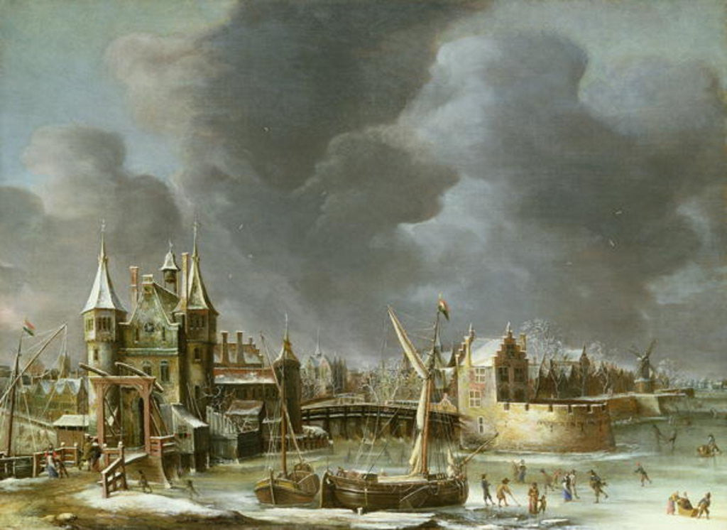 Detail of A View of the Regulierspoort, Amsterdam, in winter by Jan Abrahamsz. Beerstraten