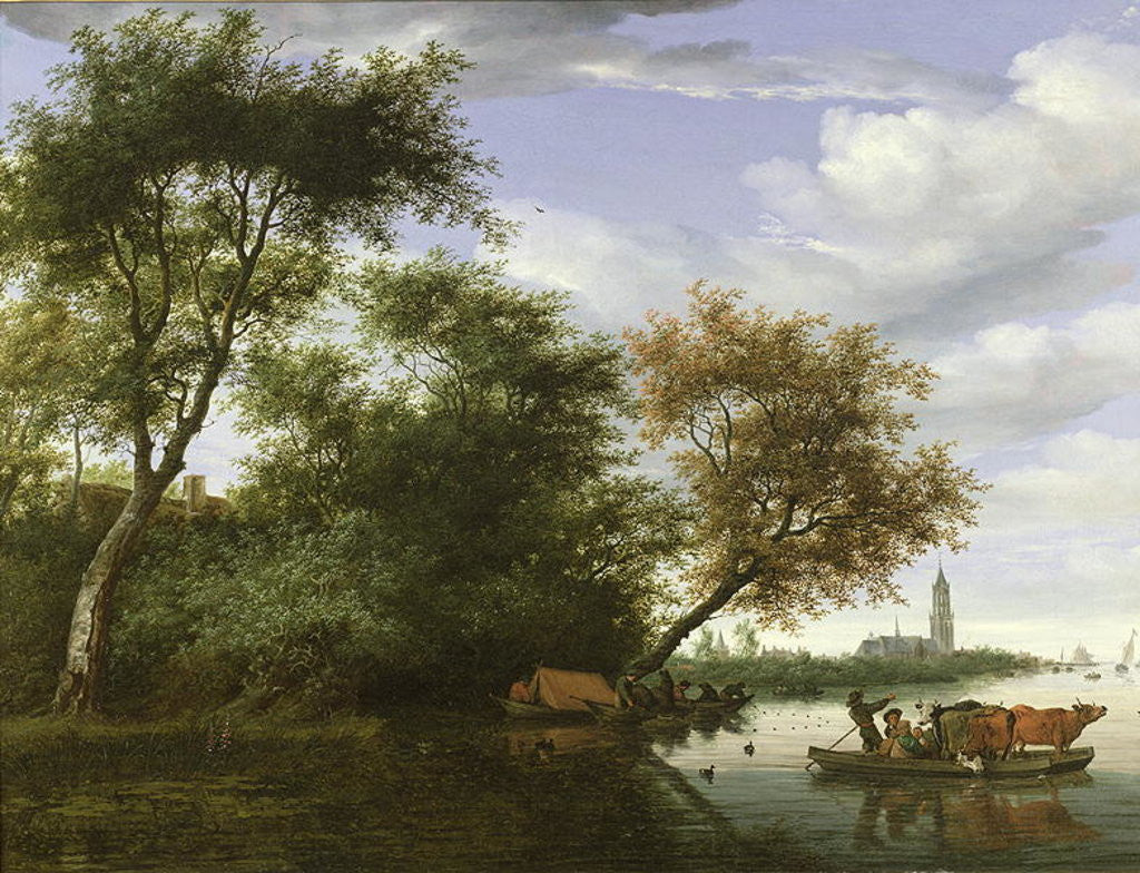 b1e3858b3e1d Detail of Wooded river landscape with figures and cattle on a ferryboat by  Salomon van Ruisdael