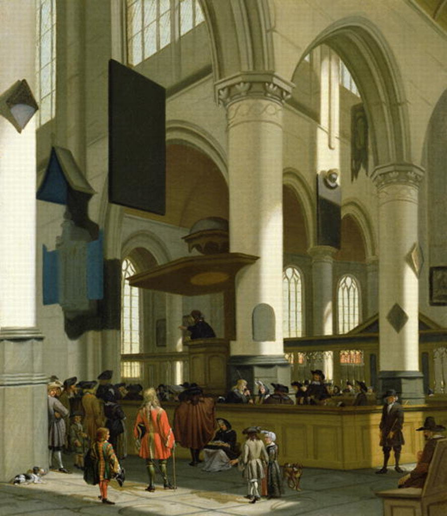 Detail of Interior of the Oude Kerk, Delft, with a preacher by A. & Streeck