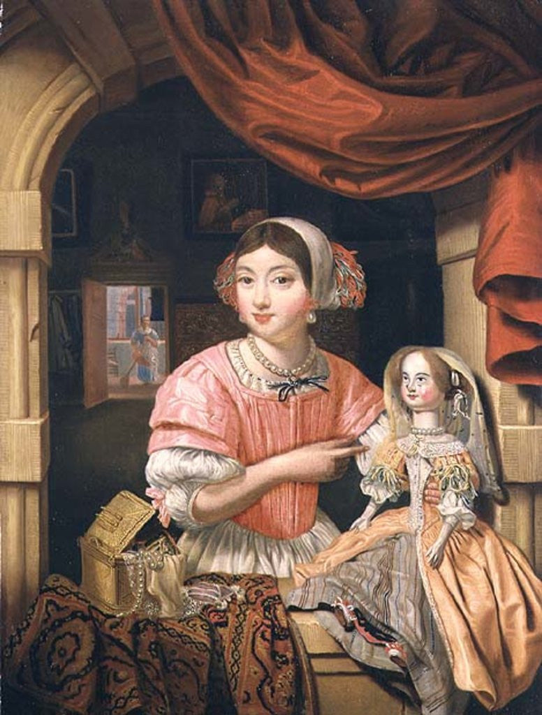Detail of Girl holding a doll in an interior with a maid sweeping behind by Edwaert Colyer or Collier