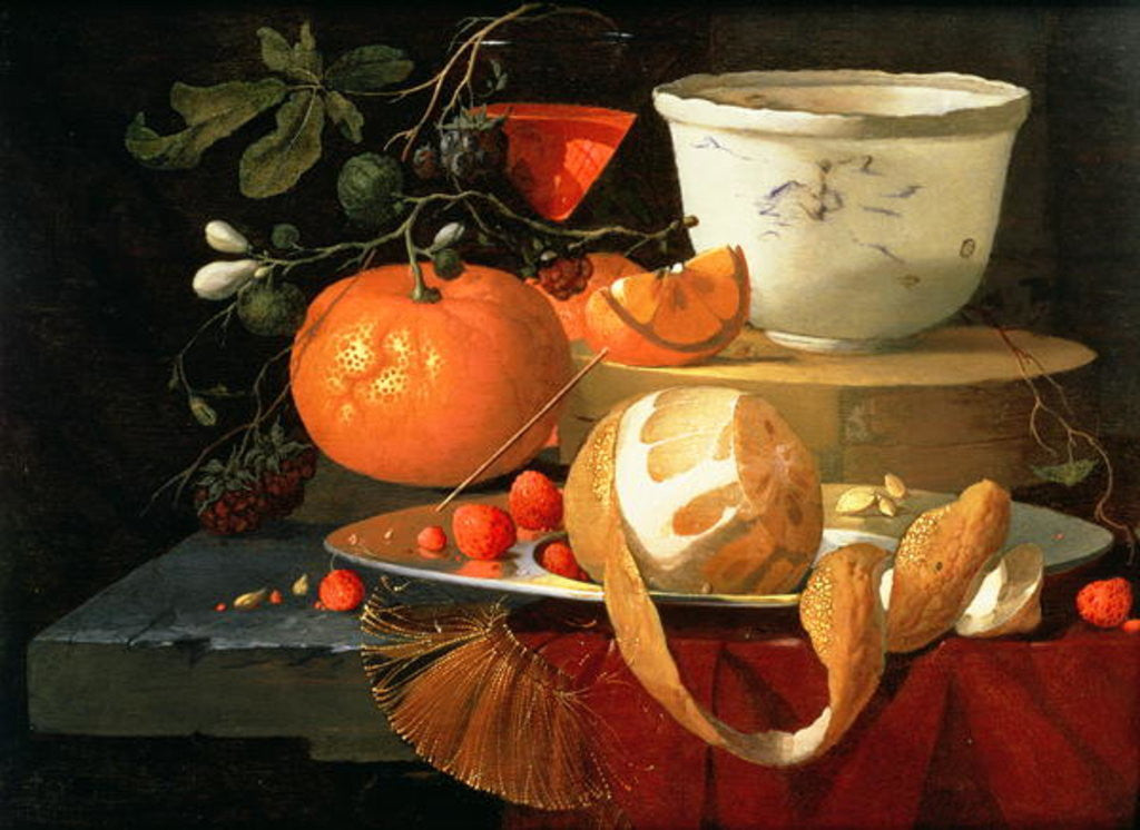 Detail of Still life of an orange, a lemon and strawberry on a pewter plate, a wan-li bowl behind by Elias van den Broeck