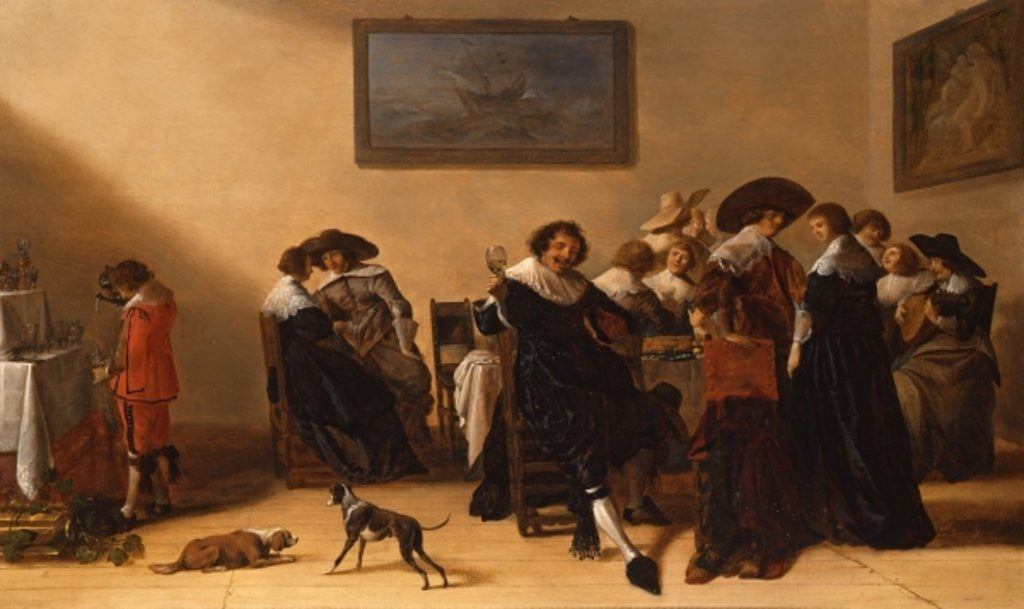 Detail of A Merry Group in an Interior, eating and drinking by Anthonie Palamedesz