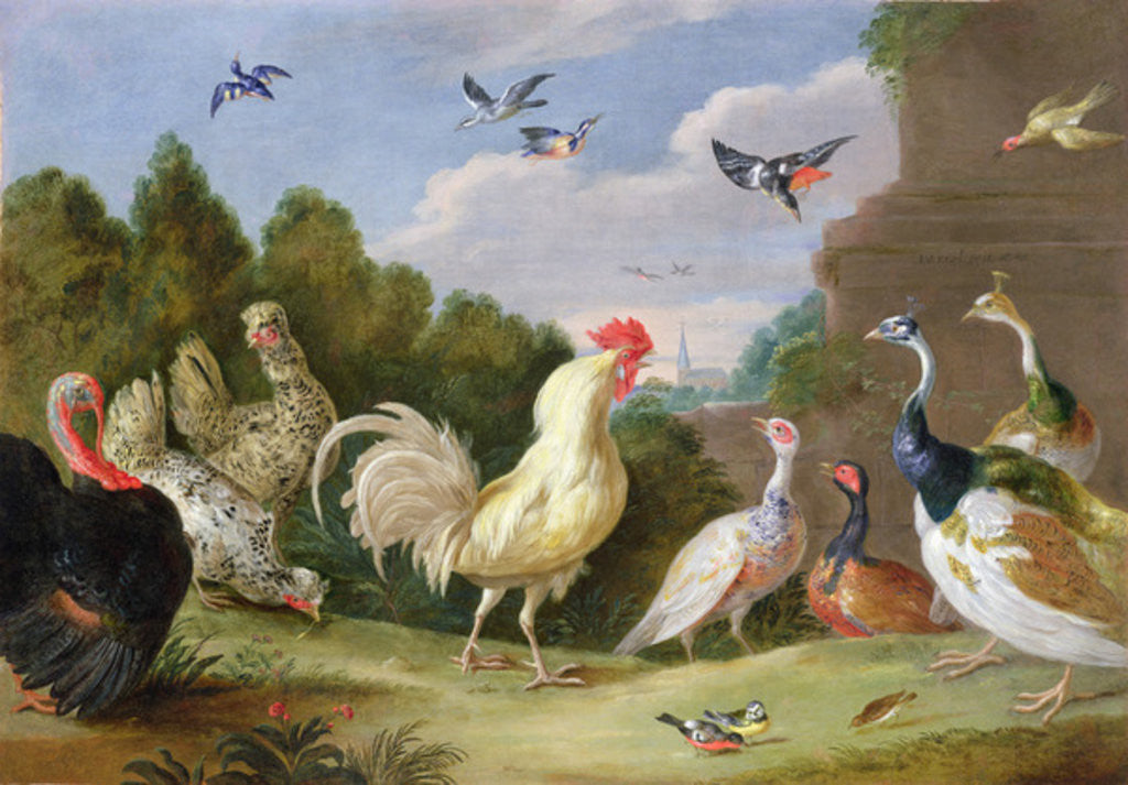 Detail of Wooded Landscape with a Cock, Turkey, Hens and other Birds by Jan van